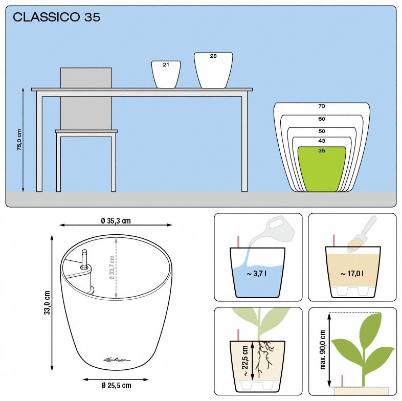Kvetináč Lechuza Classico 35 - podrobné rozmery