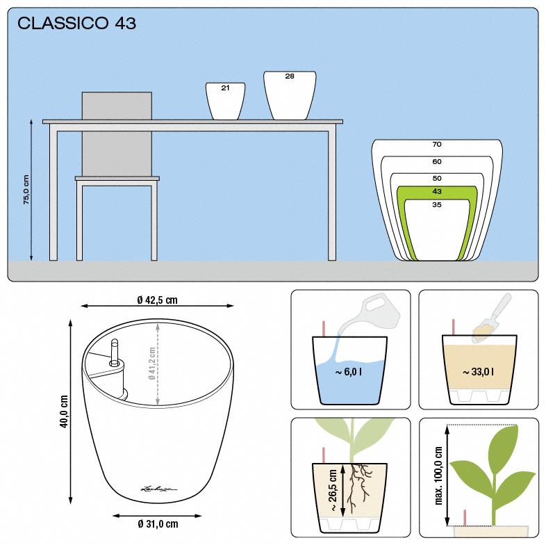 Kvetináč Lechuza Classico 43 - podrobné rozmery