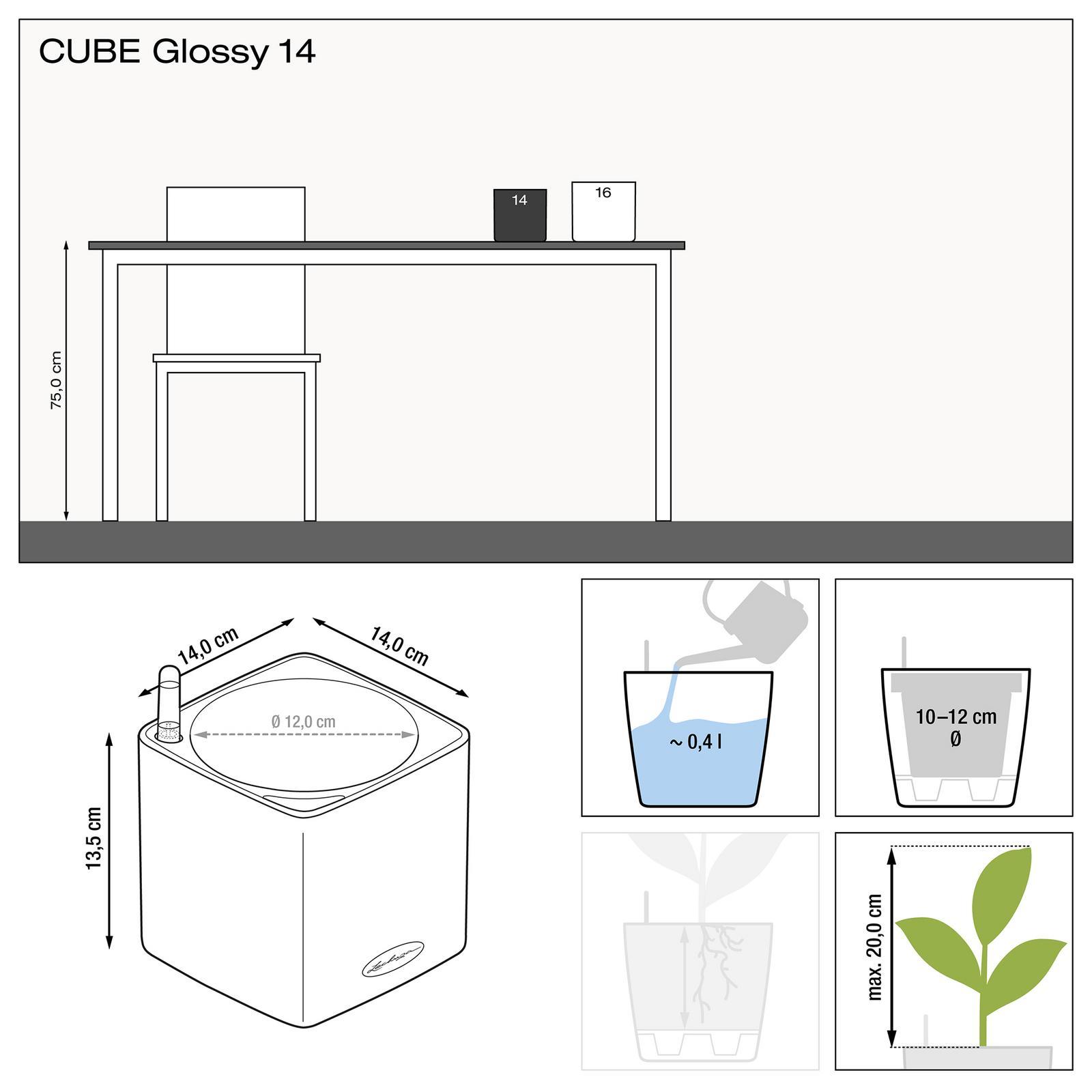 Rozmery kvetináča Lechuza Cube Glossy 14