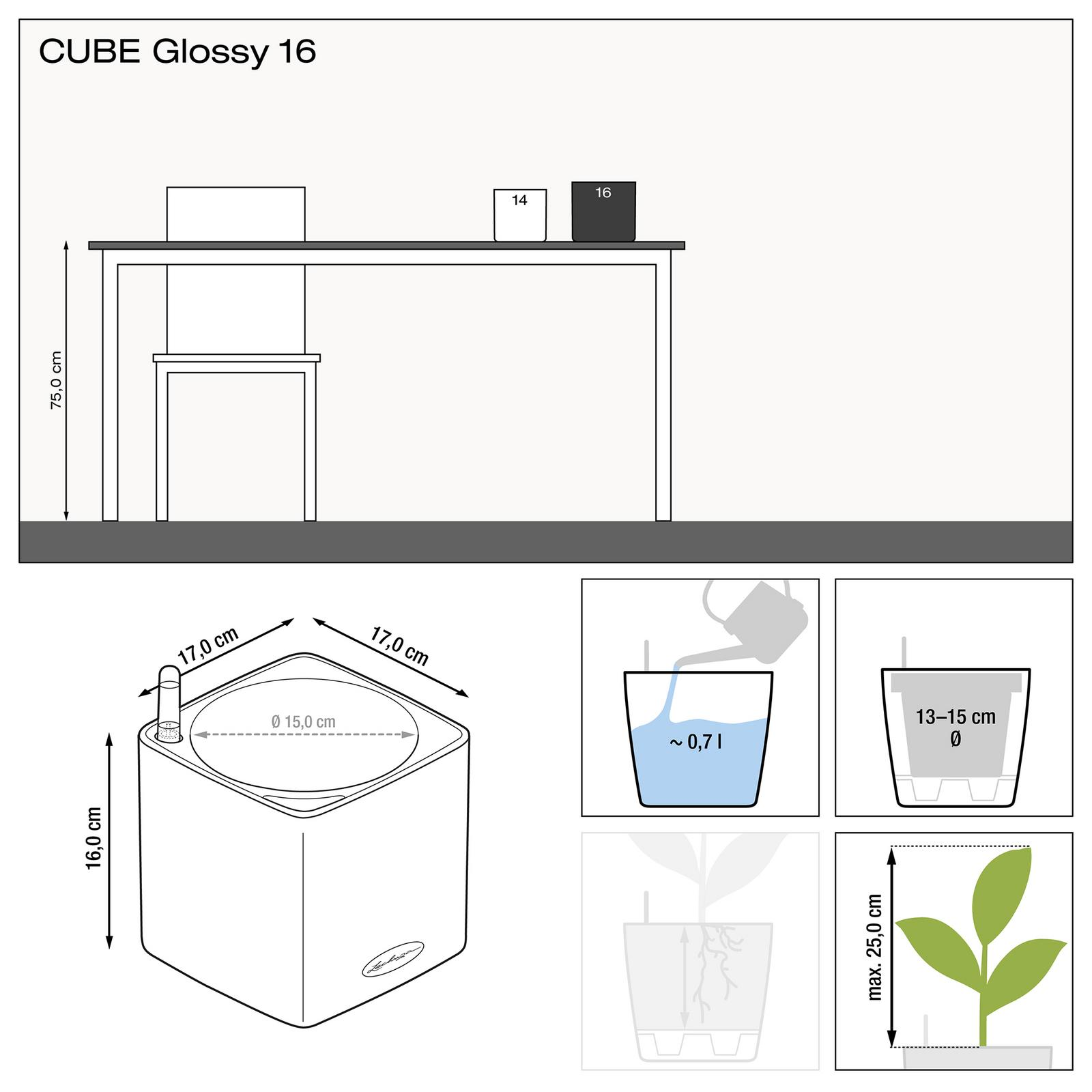 Rozmery kvetináča Lechuza Cube Glossy 16