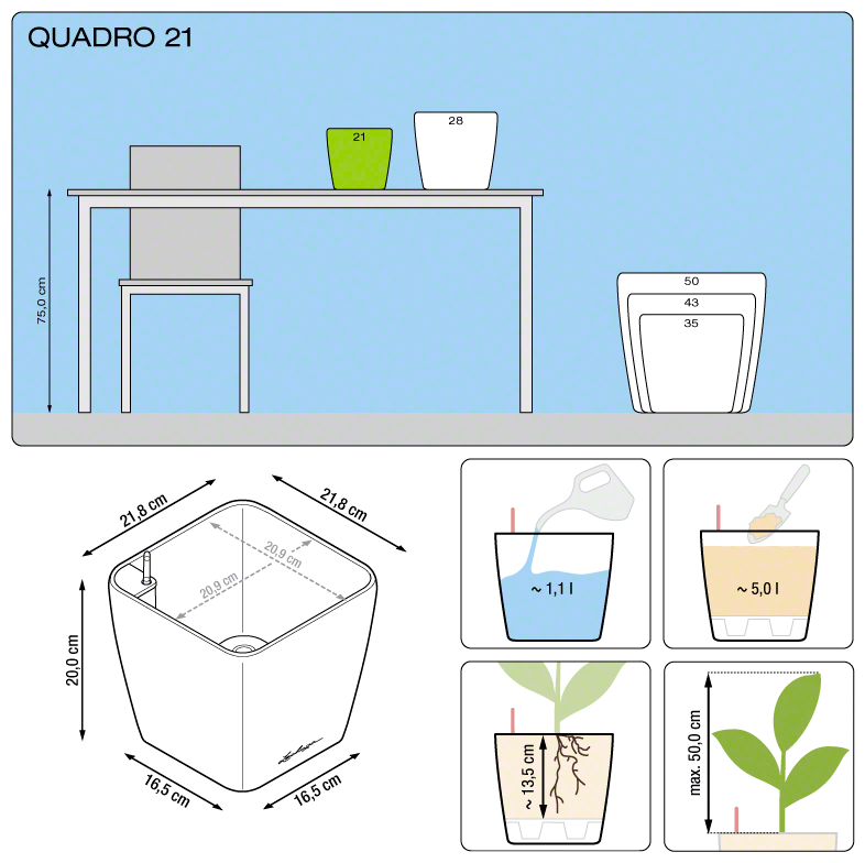 Kvetináč Lechuza Quadro 21 - podrobné rozmery