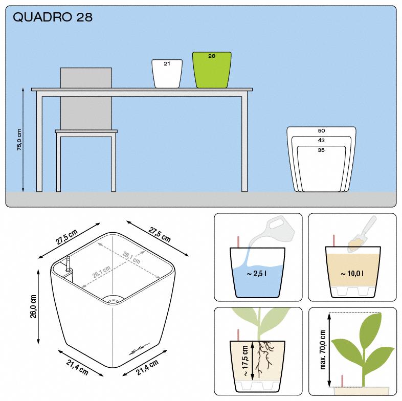 Kvetináč Lechuza Quadro 28 - podrobné rozmery