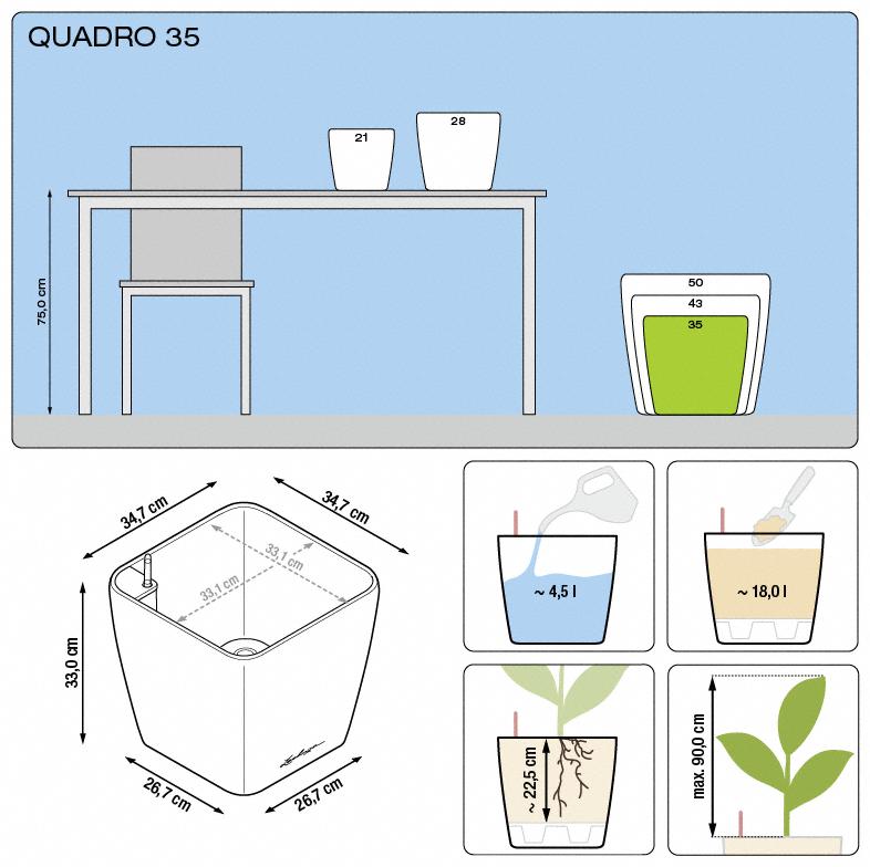 Kvetináč Lechuza Quadro 35 - podrobné rozmery