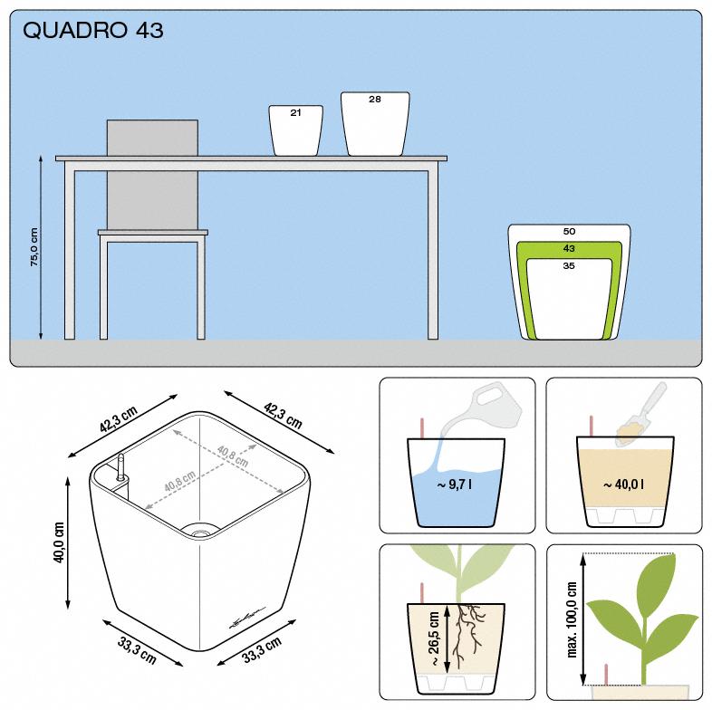 Kvetináč Lechuza Quadro 43 - podrobné rozmery