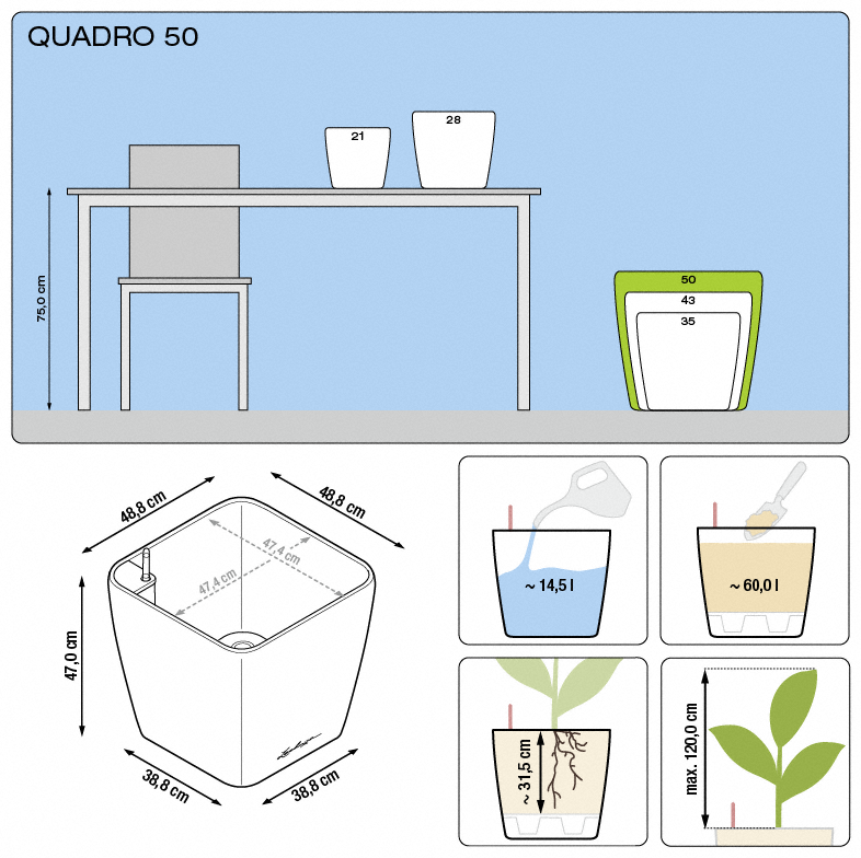 Kvetináč Lechuza Quadro 50 - podrobné rozmery
