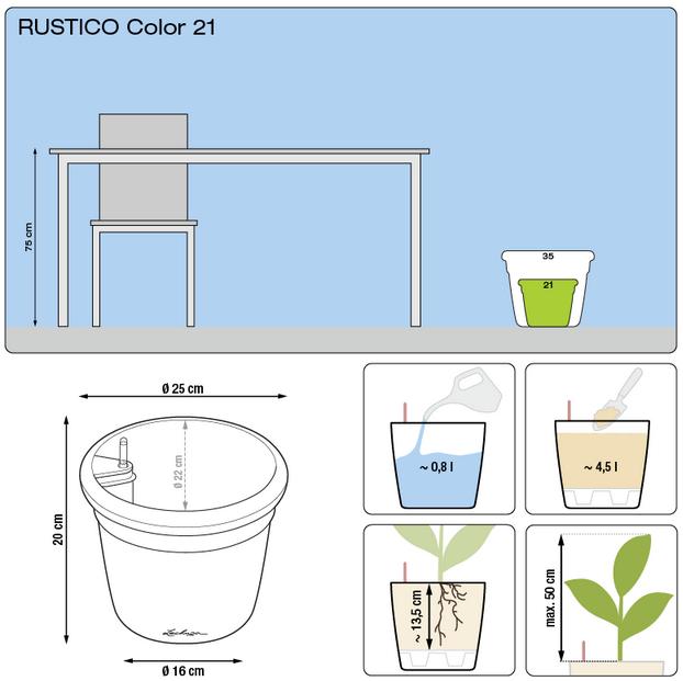 Kvetináč Lechuza Rustico Color 21 - podrobné rozmery