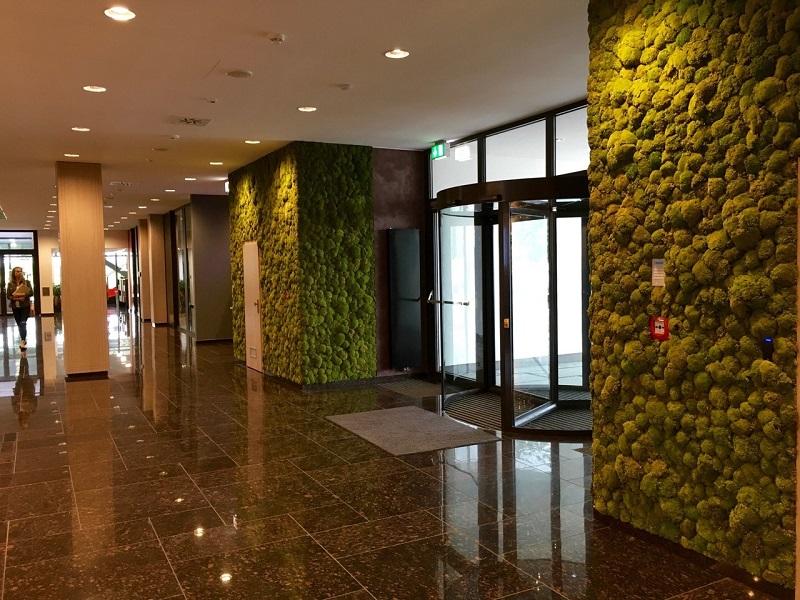 Machové steny na recepcii v X-BIONIC® HOTEL