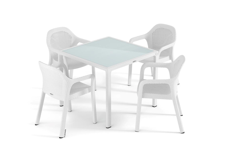 65fb53594f8c Set záhradného nábytku Lechuza malý (4 x stolička + stôl) biela