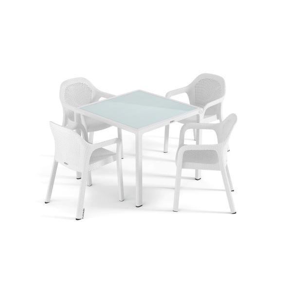 1891deb15ced Set záhradného nábytku Lechuza malý (4 x stolička + stôl) biela