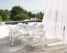 Set záhradného nábytku Lechuza veľký (6 x stolička + stôl) biela