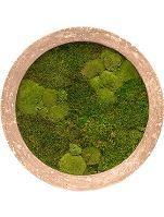 Machový obraz s okrúhlym rámom POLYSTONE Rock, 80cm, hnedá