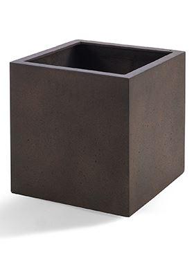 Kvetináč D-LITE Grigio Cube, hrdzavá hnedá