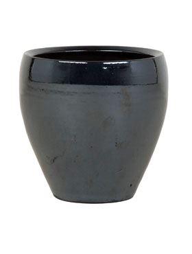 Keramický kvetináč v tmavej metalickej farbe