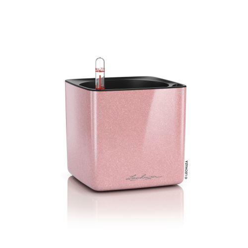 Samozavlažovací Kvetináč Lechuza Cube Glossy Kiss 14 trblietavá krémová ružová