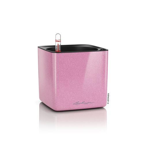 Kvetináč Lechuza Cube Glossy Kiss 14 trblietavá cukríková ružová