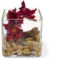 Sklenená dekorácia NATURAL ILLUSION s umelou orchideou a kameňmi, 12x12/12 cm