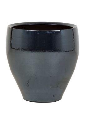 Tmavý keramický kvetináč AMORA